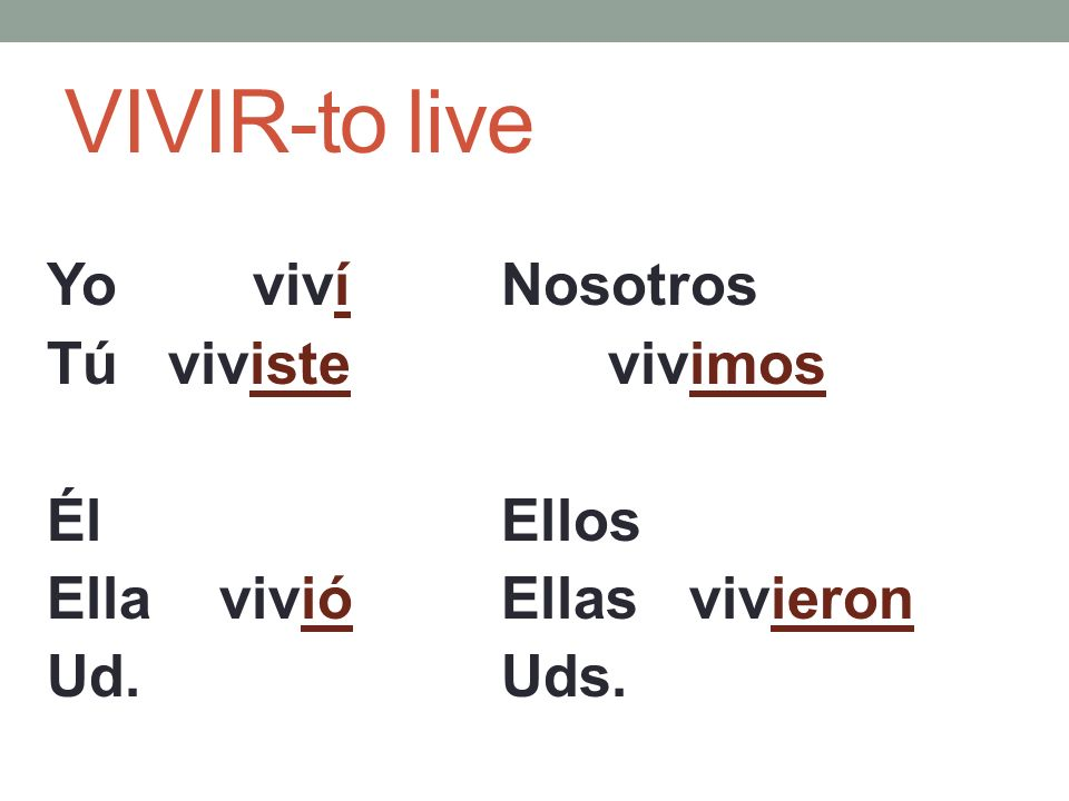 VIVIR-to live Yo viví Tú viviste Él Ella vivió Ud. Nosotros vivimos Ellos Ellas vivieron Uds.