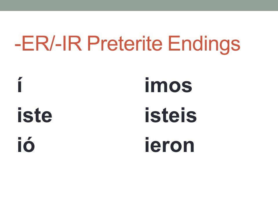 -ER/-IR Preterite Endings Lets do some regular -ER/-IR verb.