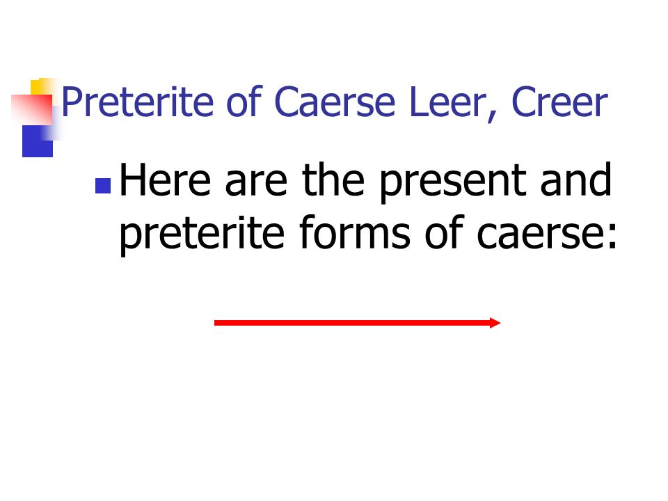 Preterite of Caerse Leer, Creer Here are the present and preterite forms of caerse: