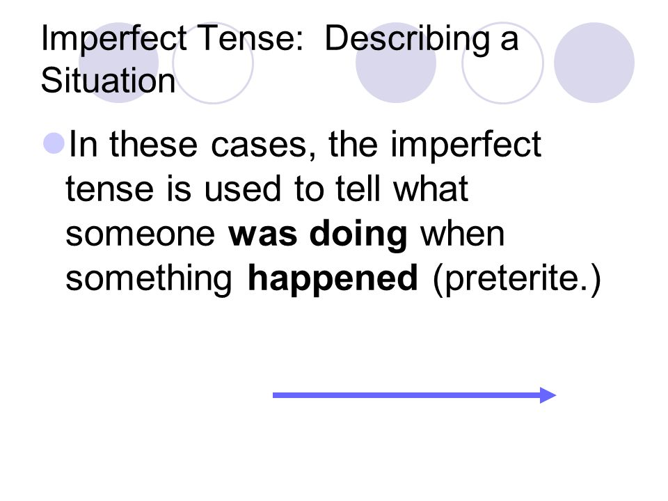 Imperfect Tense: Describing a Situation In these cases, the imperfect tense is used to tell what someone was doing when something happened (preterite.)