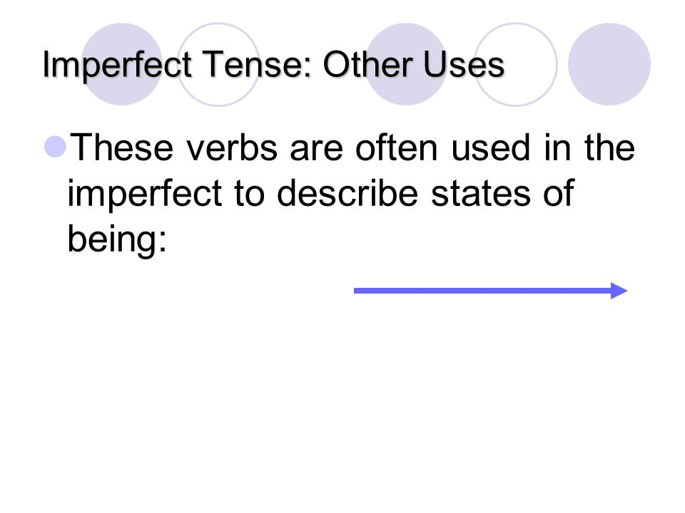 Imperfect Tense: Other Uses To describe the physical, mental, and emotional states of a person or thing when something happened. Muchas personas querí