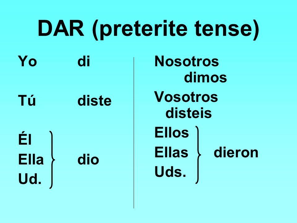 DAR (preterite tense) Yodi Túdiste Él Elladio Ud.