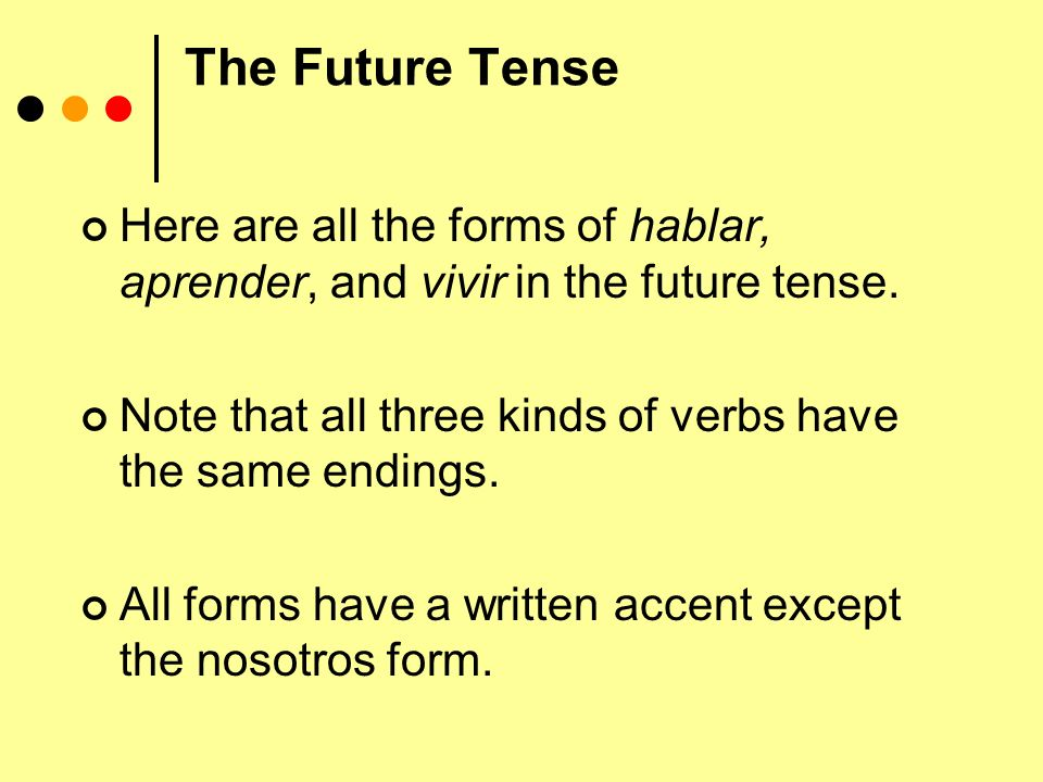 The Future Tense Here are all the forms of hablar, aprender, and vivir in the future tense.