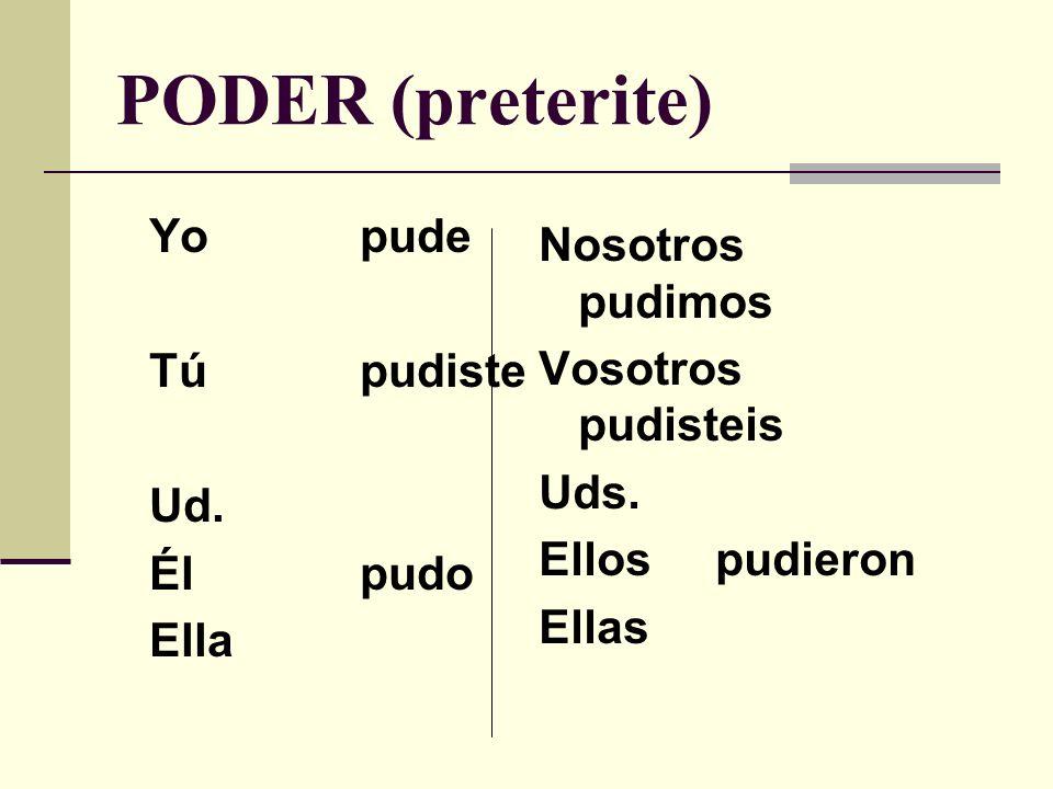 PODER (present) Yopuedo Túpuedes Ud. Élpuede Ella Nosotros podemos Vosotros podeis Uds.
