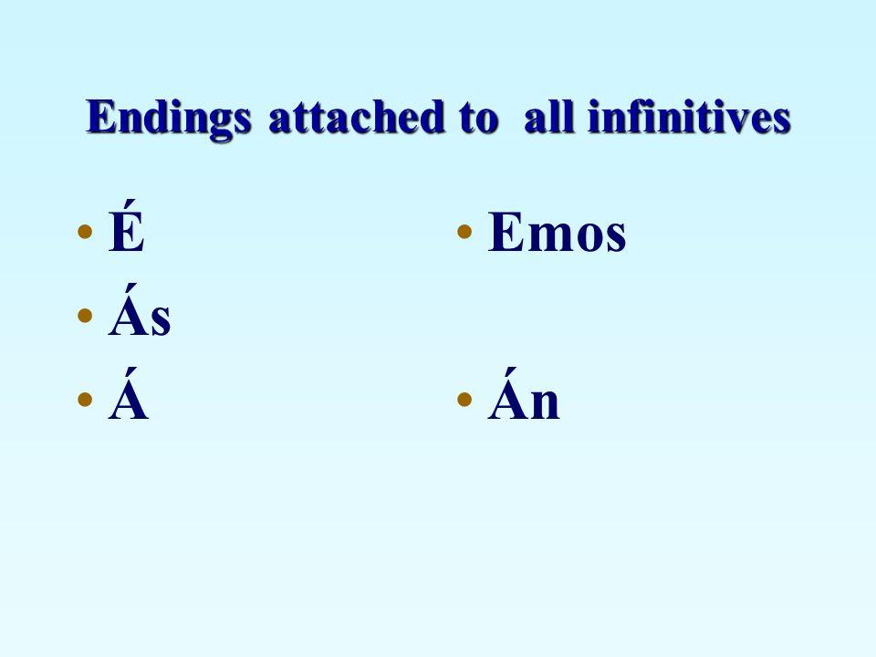 Endings attached to all infinitives É Ás Á Emos Án