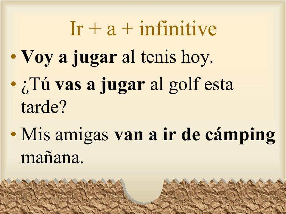 Ir + a + infinitive Voy a jugar al tenis hoy.¿Tú vas a jugar al golf esta tarde.
