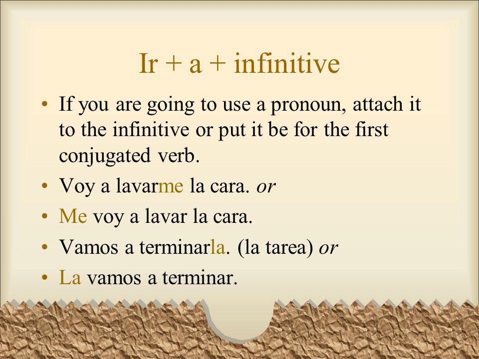 Ir + a + infinitive Voy a jugar al tenis hoy. ¿Tú vas a jugar al golf esta tarde.