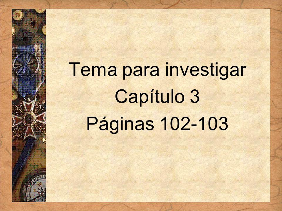 Español 3 Tema para investigar Capítulo 3 Páginas 102-103