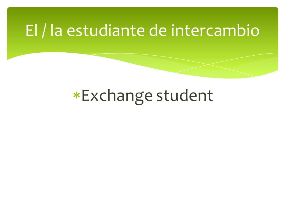 Exchange student El / la estudiante de intercambio