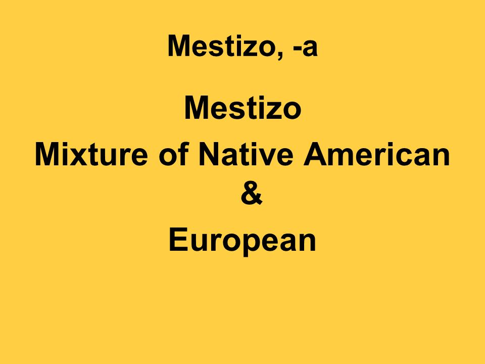 Mestizo, -a Mestizo Mixture of Native American & European