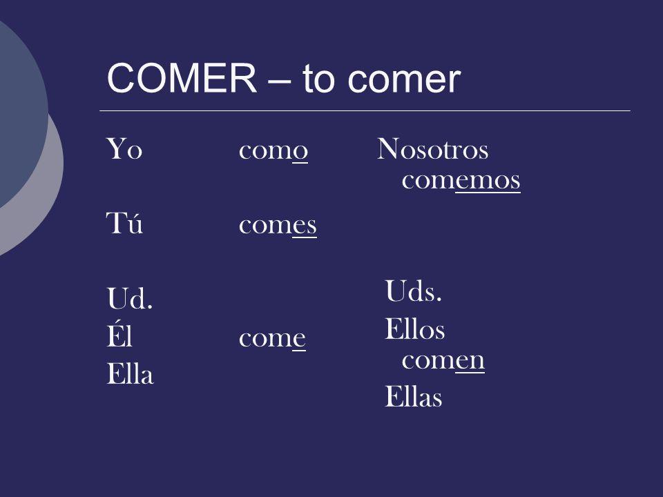 COMER – to comer Yocomo Túcomes Ud. Élcome Ella Nosotros comemos Uds. Ellos comen Ellas