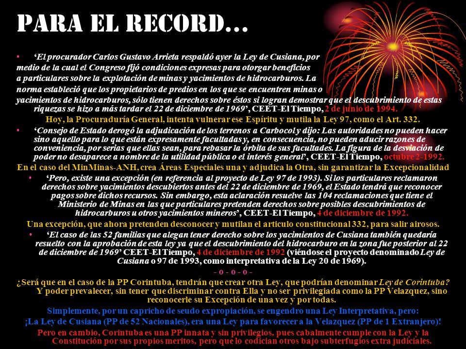 PARA EL RECORD… El procurador Carlos Gustavo Arrieta respaldó ayer la Ley de Cusiana, por medio de la cual el Congreso fijó condiciones expresas para