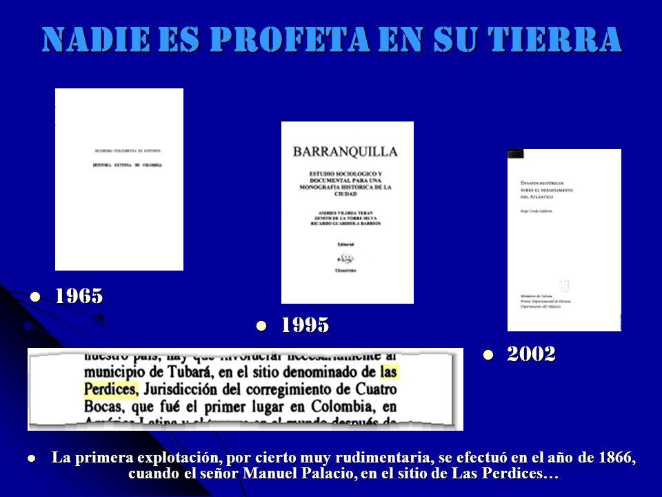 NADIE ES PROFETA EN SU TIERRA La primera explotación, por cierto muy rudimentaria, se efectuó en el año de 1866, cuando el señor Manuel Palacio, en el sitio de Las Perdices… La primera explotación, por cierto muy rudimentaria, se efectuó en el año de 1866, cuando el señor Manuel Palacio, en el sitio de Las Perdices… 1965 1965 1995 1995 2002 2002