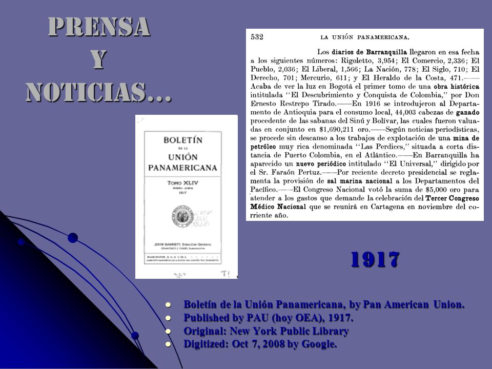 PRENSA Y NOTICIAS… Boletín de la Unión Panamericana, by Pan American Union. Boletín de la Unión Panamericana, by Pan American Union. Published by PAU
