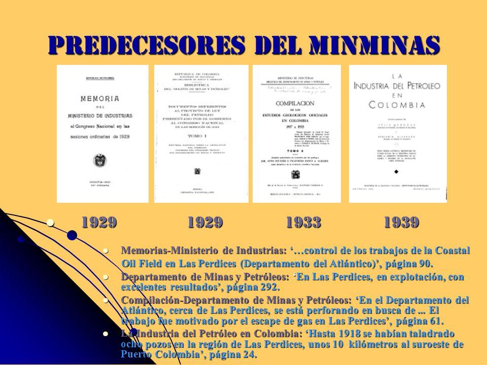 Predecesores del MinMinas Memorias-Ministerio de Industrias: …control de los trabajos de la Coastal Memorias-Ministerio de Industrias: …control de los
