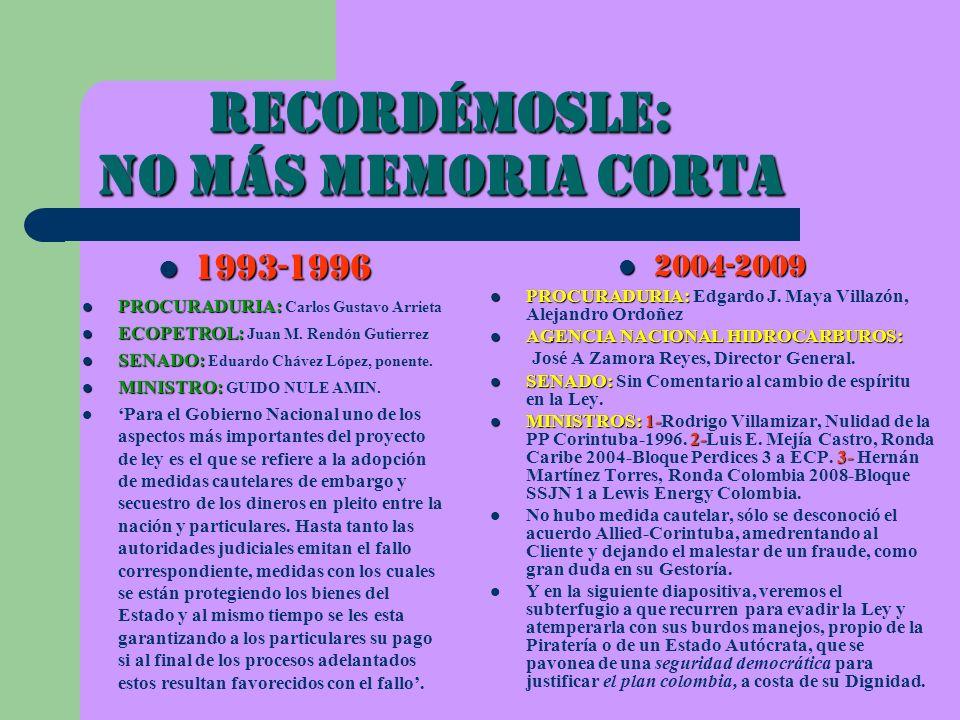 Recordémosle: NO MáS MEMORIA CORTA 2004-2009 2004-2009 PROCURADURIA: PROCURADURIA: Edgardo J. Maya Villazón, Alejandro Ordoñez AGENCIA NACIONAL HIDROC
