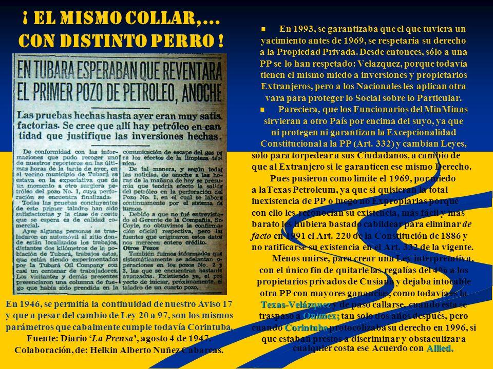 ¡ EL MISMO COLLAR,… con distinto perro ! En 1993, se garantizaba que el que tuviera un yacimiento antes de 1969, se respetaría su derecho a la Propied