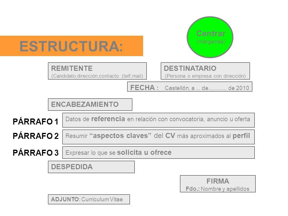 ESTRUCTURA: DESTINATARIO (Persona o empresa con dirección) FECHA : Castellón, a... de............ de 2010 ENCABEZAMIENTO Datos de referencia en relaci