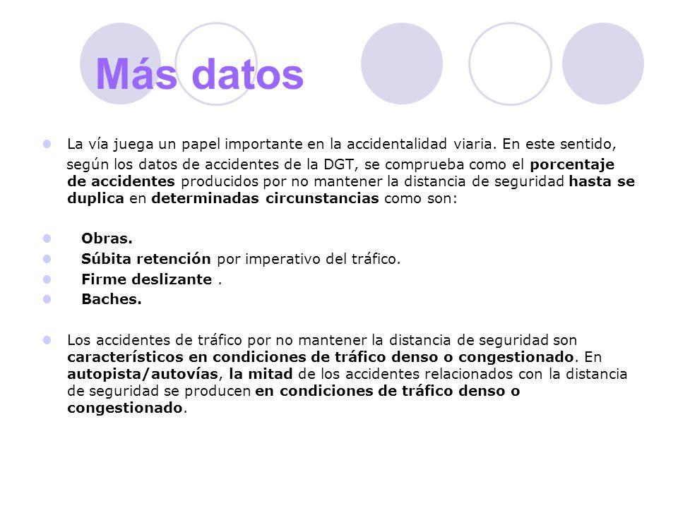Más datos La vía juega un papel importante en la accidentalidad viaria. En este sentido, según los datos de accidentes de la DGT, se comprueba como el