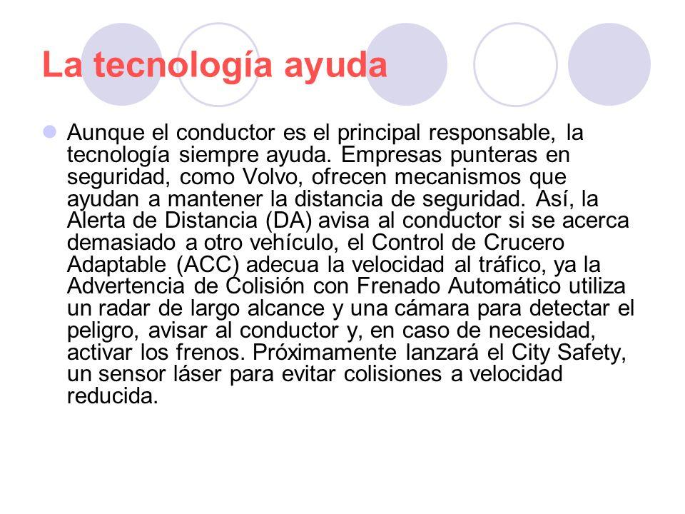 La tecnología ayuda Aunque el conductor es el principal responsable, la tecnología siempre ayuda. Empresas punteras en seguridad, como Volvo, ofrecen