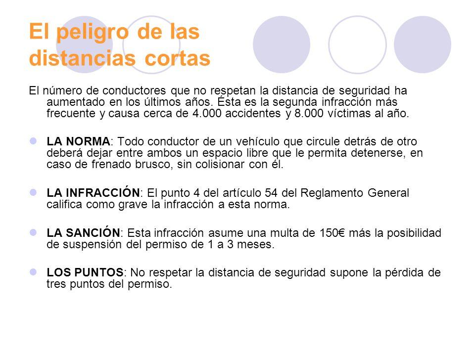 La distancia de seguridad en los accidentes de tráfico en España La distancia de seguridad de un vehículo está estrechamente relacionada con la velocidad, con el tiempo que necesita el conductor para reacción y con la distancia de frenado.