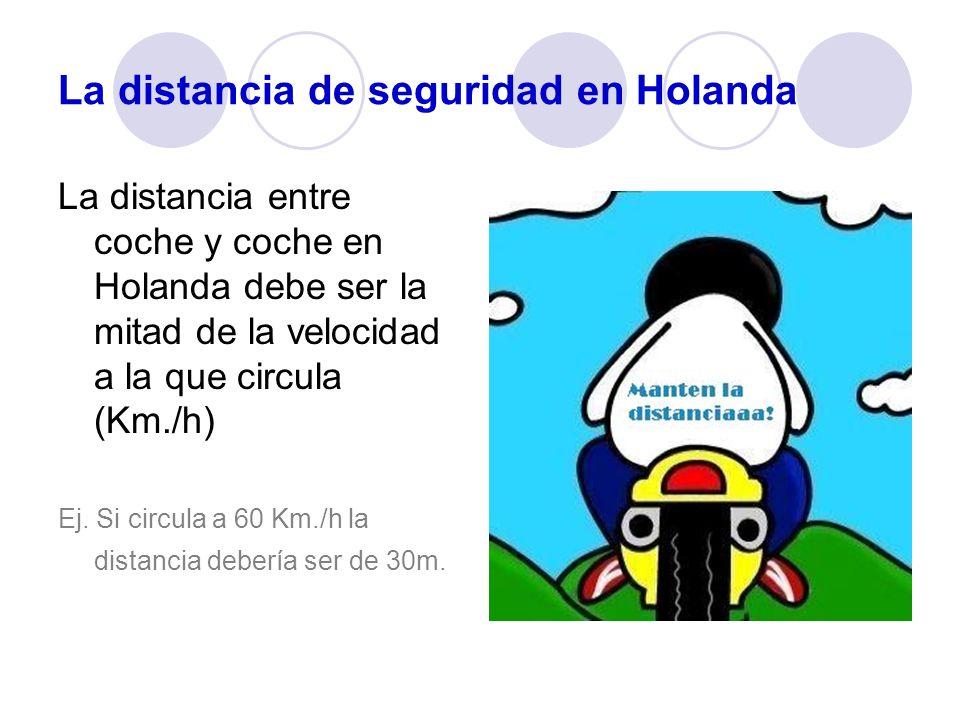 La distancia de seguridad en Holanda La distancia entre coche y coche en Holanda debe ser la mitad de la velocidad a la que circula (Km./h) Ej. Si cir