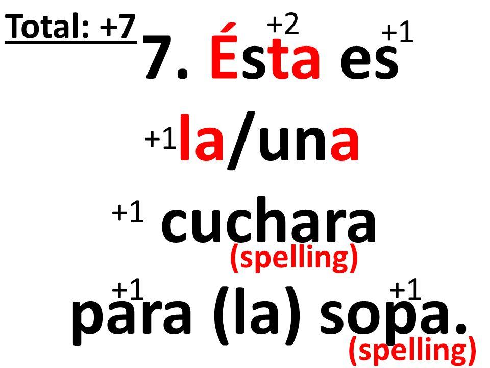 EXTRA CREDIT: Ésta es el/un bol. +2 +1 Total: +5 (spelling)