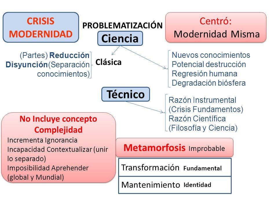 CRISIS MODERNIDAD Ciencia PROBLEMATIZACIÓN Centró: Modernidad Misma Centró: Modernidad Misma Clásica Metamorfosis Improbable Técnico Mantenimiento Tra