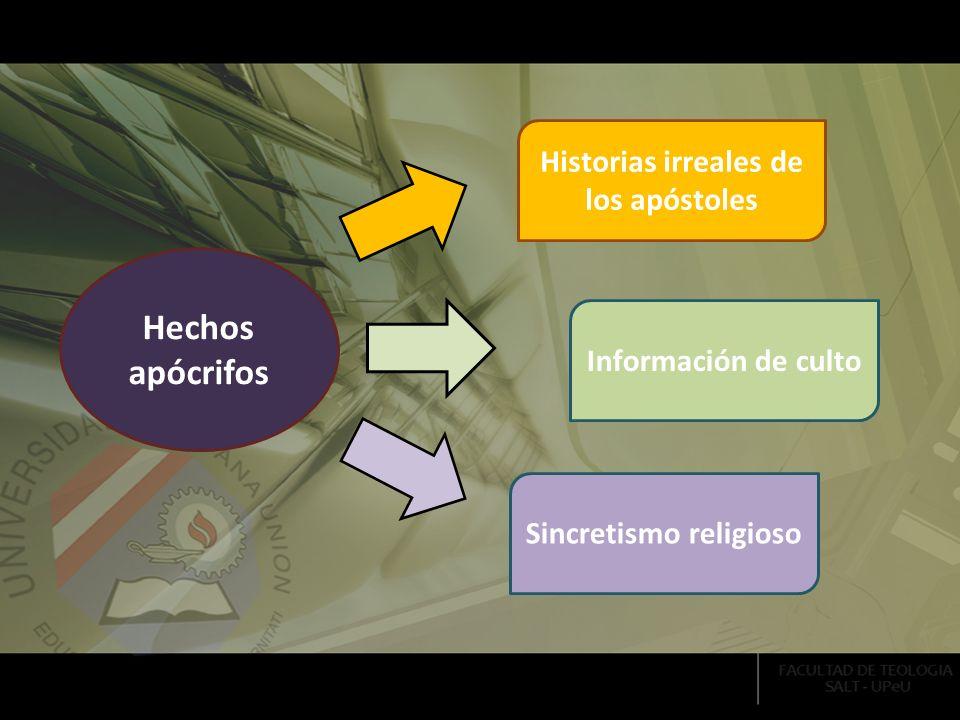 Información de culto Historias irreales de los apóstoles Sincretismo religioso Hechos apócrifos