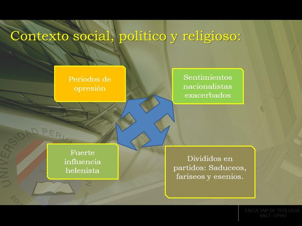 Contexto social, político y religioso: Periodos de opresión Sentimientos nacionalistas exacerbados Fuerte influencia helenista Divididos en partidos: