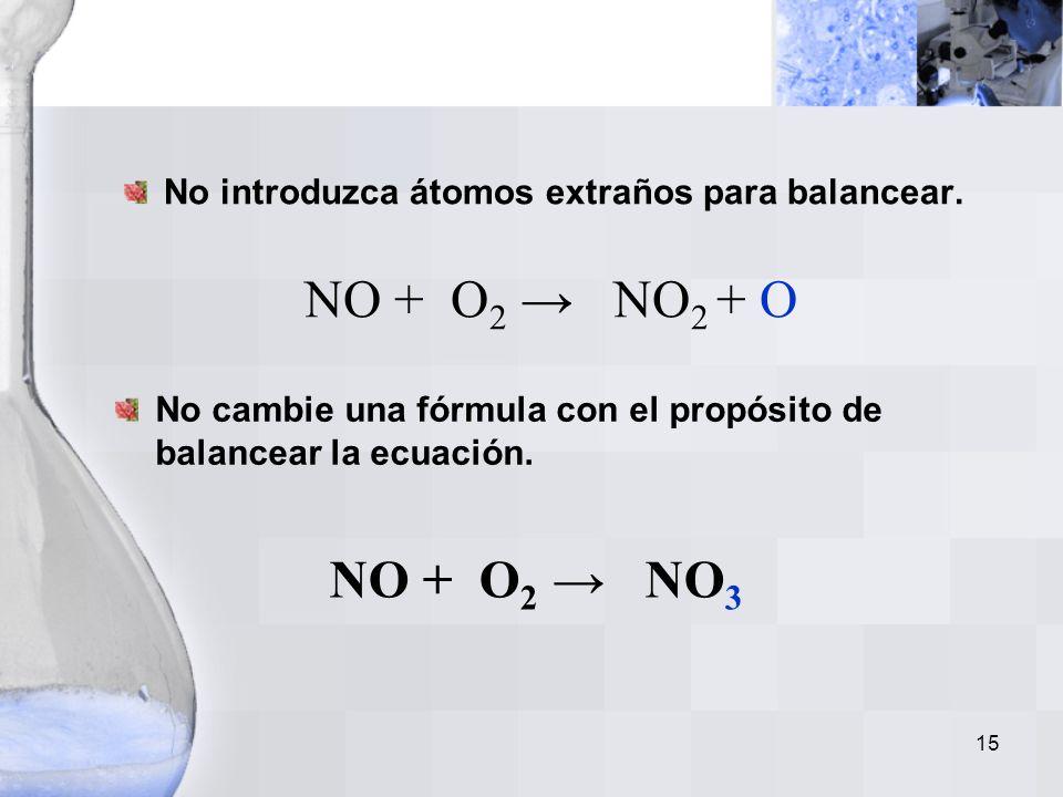 14 Representación molecular NO O2O2 NO 2