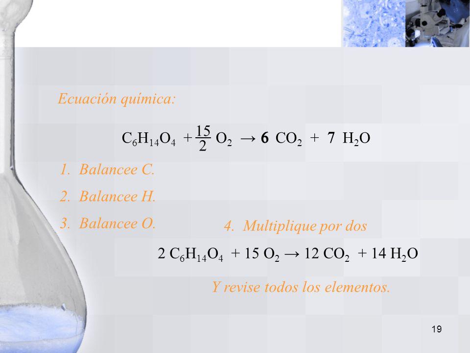 18 Ejemplo No. 2 Escritura y balanceo de una ecuación: La combustión de un compuesto que contiene C, H y O. El trietilenglicol líquido, C 6 H 14 O 4,