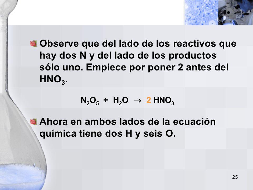 24 Ejemplo No. 4 El pentóxido de dinitrógeno reacciona con agua para producir ácido nítrico. Escriba una ecuación balanceada para esta reacción. Paso