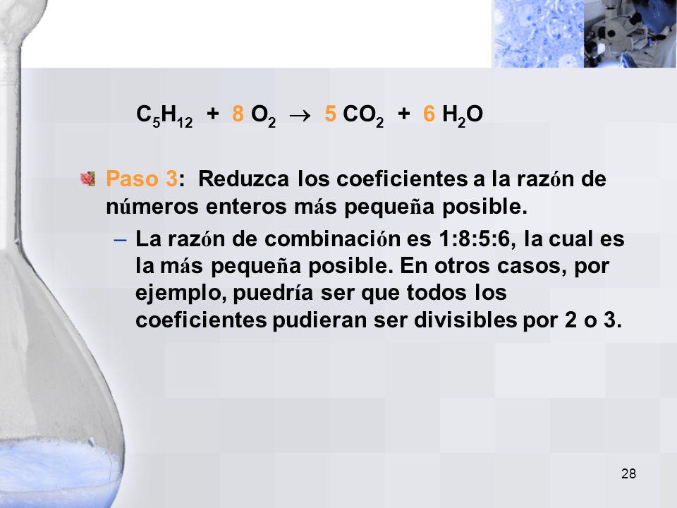 27 C 5 H 12 + O 2 5 CO 2 + H 2 O Hay 12 H en el lado de los reactivos, y sólo 2 H del lado de los productos. Coloque coeficiente 6 al H 2 O. C 5 H 12