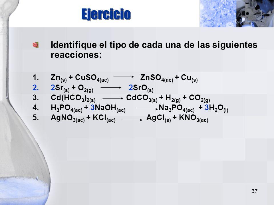 36 compuesto + compuesto H 2 SO 4 + 2NaOH NaSO 4 + 2H 2 O Hay un intercambio entre elementos de dos compuestos: Doble Desplazamiento