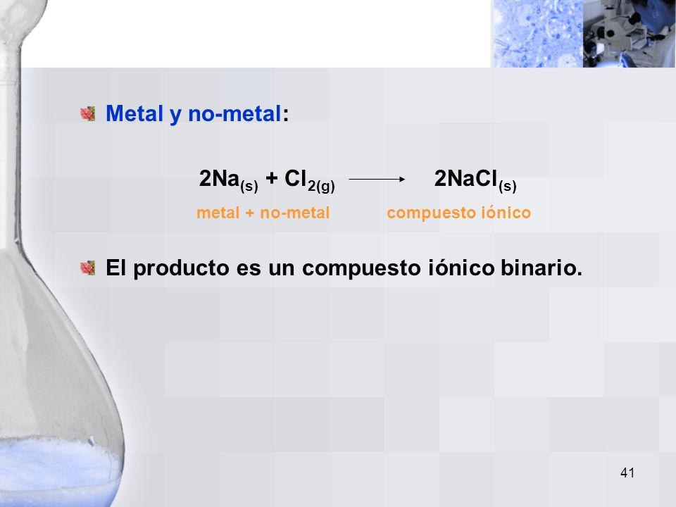 40 No-metal y oxígeno gaseoso: S (s) + O 2(g) SO 2(g) no-metal + oxígeno gas óxido de no-metal Los óxidos de no-metales muestran múltiples capacidades