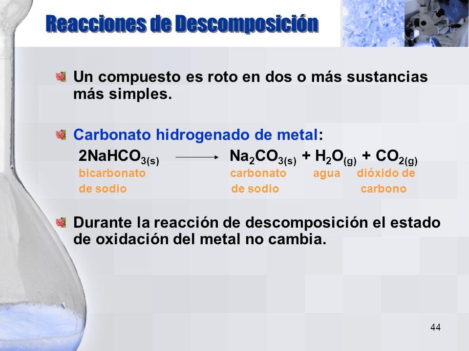 43 Ejemplo: la combinación de hidrógeno con cloro
