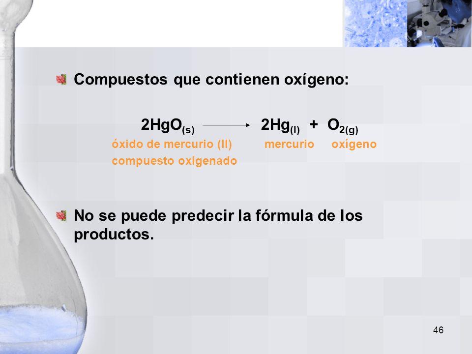 45 Carbonatos de Metal: CaCO 3(s) CaO (s) + CO 2(g) carbonato óxido dióxido de de metal de metal carbono El carbonato hidrogenado de metal se descompo