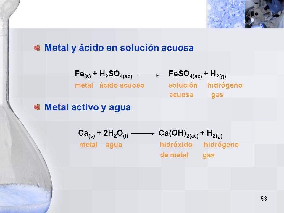 52 En una reacción de simple desplazamiento un metal desplaza otro metal o hidrógeno, de un compuesto o solución acuosa que tenga una menor actividad