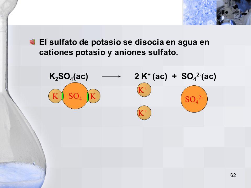 61 El cloruro de potasio se disocia en agua en cationes potasio y aniones cloruro. KCl(ac) K + (ac) + Cl - (ac) El sulfato de cobre (II) se disocia en