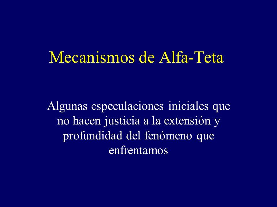 Mecanismos de Alfa-Teta Algunas especulaciones iniciales que no hacen justicia a la extensión y profundidad del fenómeno que enfrentamos