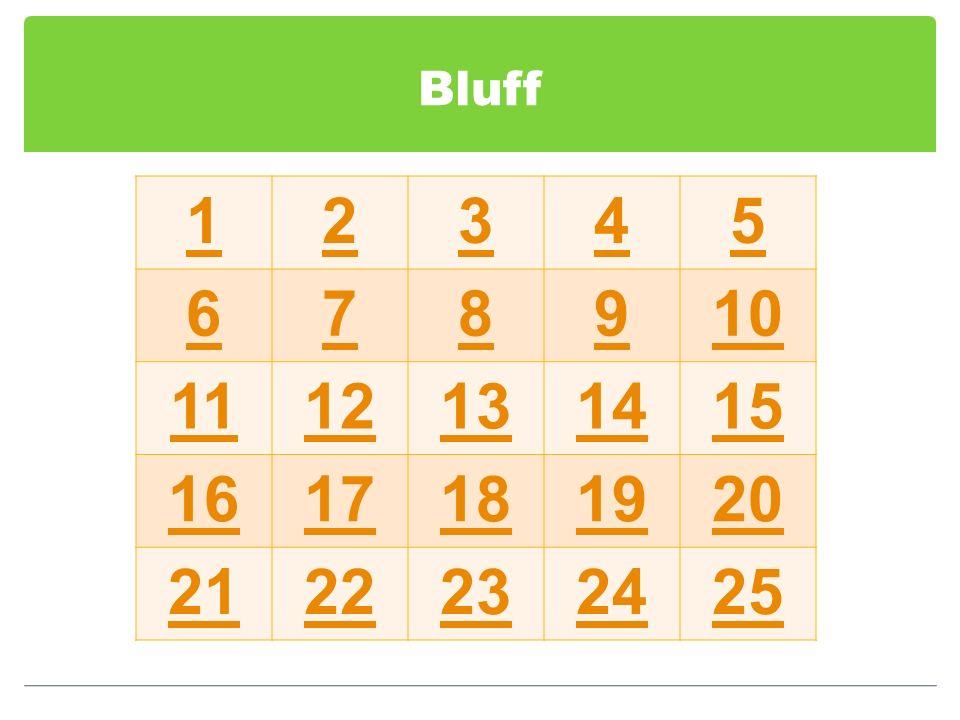 Bluff 12345 678910 1112131415 1617181920 2122232425