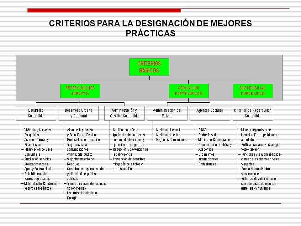 CRITERIOS PARA LA DESIGNACIÓN DE MEJORES PRÁCTICAS