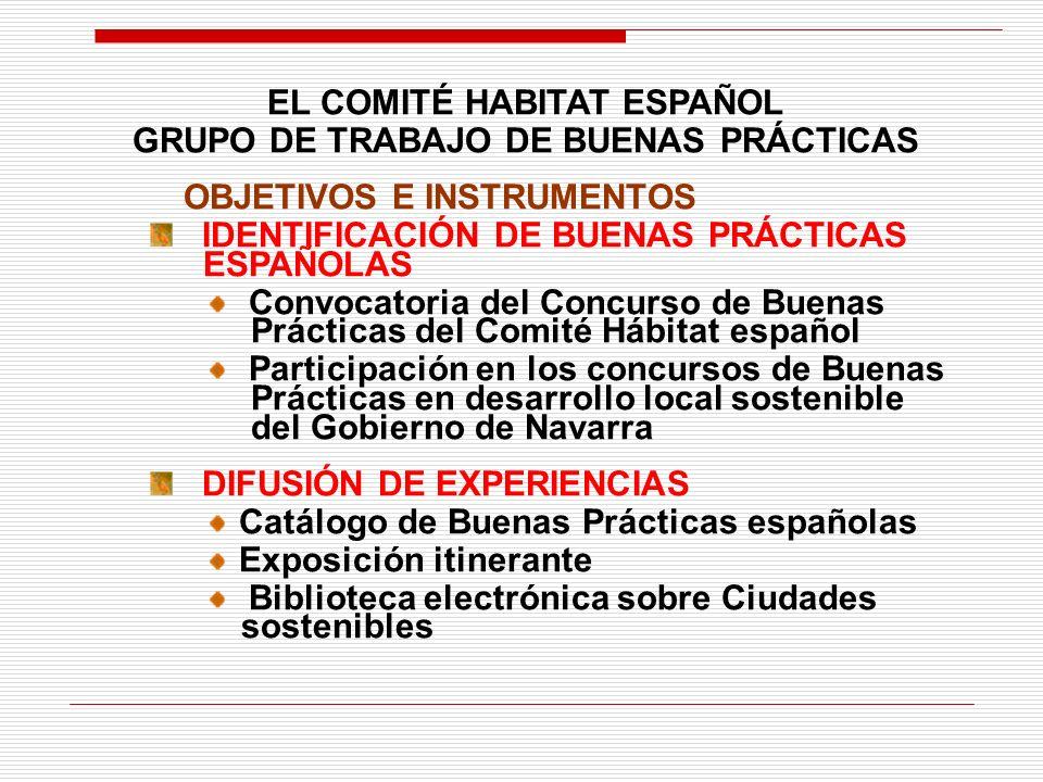 EL COMITÉ HABITAT ESPAÑOL GRUPO DE TRABAJO DE BUENAS PRÁCTICAS OBJETIVOS E INSTRUMENTOS IDENTIFICACIÓN DE BUENAS PRÁCTICAS ESPAÑOLAS Convocatoria del Concurso de Buenas Prácticas del Comité Hábitat español Participación en los concursos de Buenas Prácticas en desarrollo local sostenible del Gobierno de Navarra DIFUSIÓN DE EXPERIENCIAS Catálogo de Buenas Prácticas españolas Exposición itinerante Biblioteca electrónica sobre Ciudades sostenibles