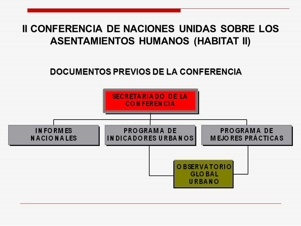 DOCUMENTOS PREVIOS DE LA CONFERENCIA II CONFERENCIA DE NACIONES UNIDAS SOBRE LOS ASENTAMIENTOS HUMANOS (HABITAT II)