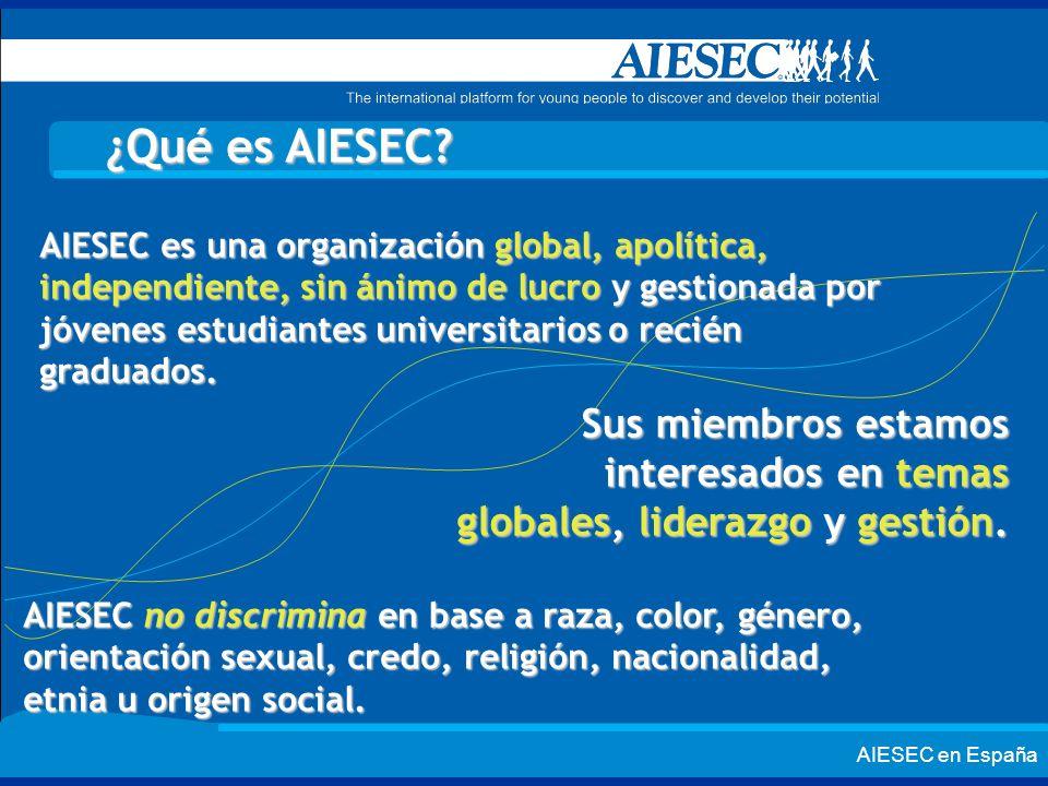 ¿Qué es AIESEC? AIESEC es una organización global, apolítica, independiente, sin ánimo de lucro y gestionada por jóvenes estudiantes universitarios o
