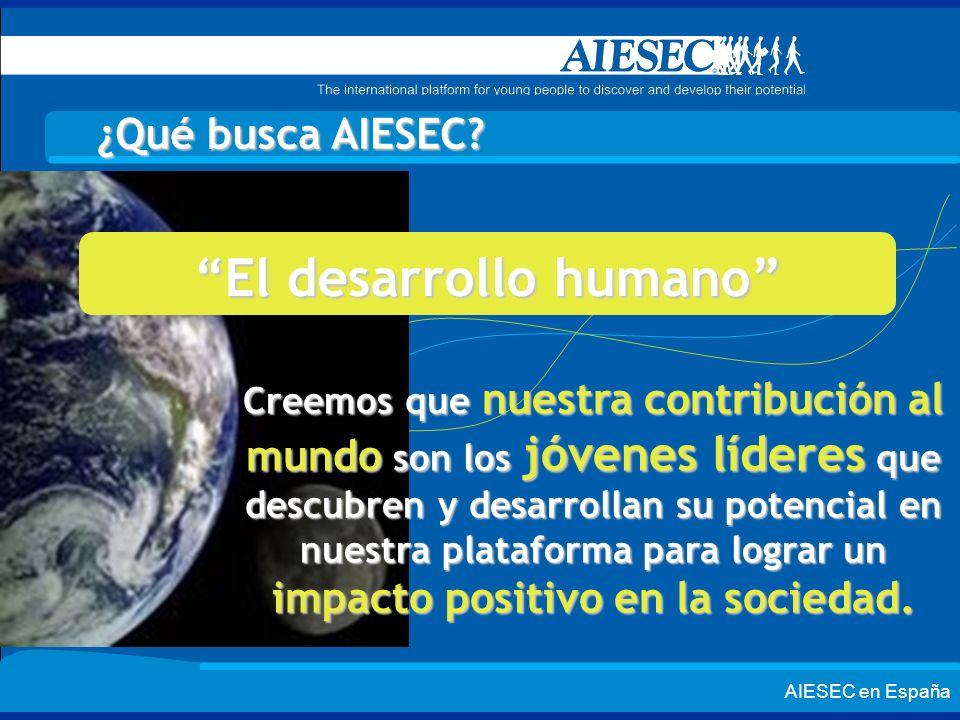 AIESEC en España ¿Qué busca AIESEC? Creemos que nuestra contribución al mundo son los jóvenes líderes que descubren y desarrollan su potencial en nues