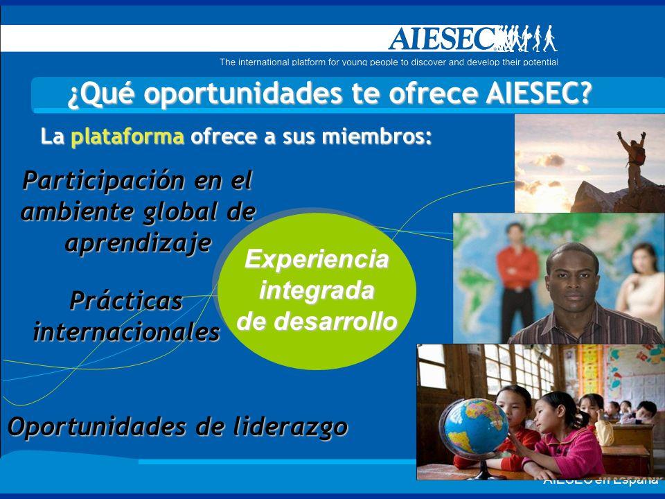 AIESEC en España ¿Qué oportunidades te ofrece AIESEC? La plataforma ofrece a sus miembros: Experienciaintegrada de desarrollo Oportunidades de lideraz