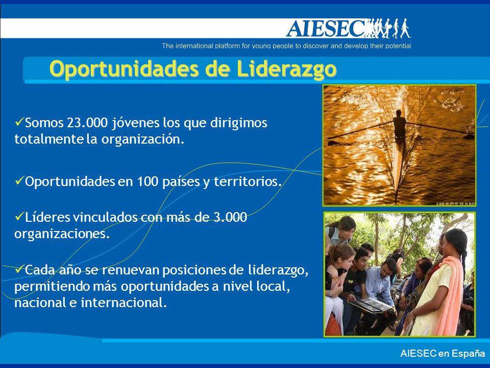 AIESEC en España Oportunidades de Liderazgo Somos 23.000 jóvenes los que dirigimos totalmente la organización. Oportunidades en 100 países y territori