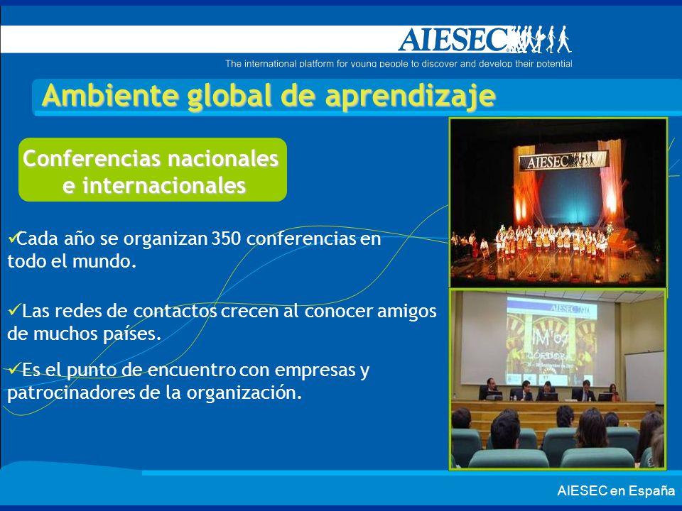 AIESEC en España Ambiente global de aprendizaje Conferencias nacionales e internacionales Cada año se organizan 350 conferencias en todo el mundo. Las